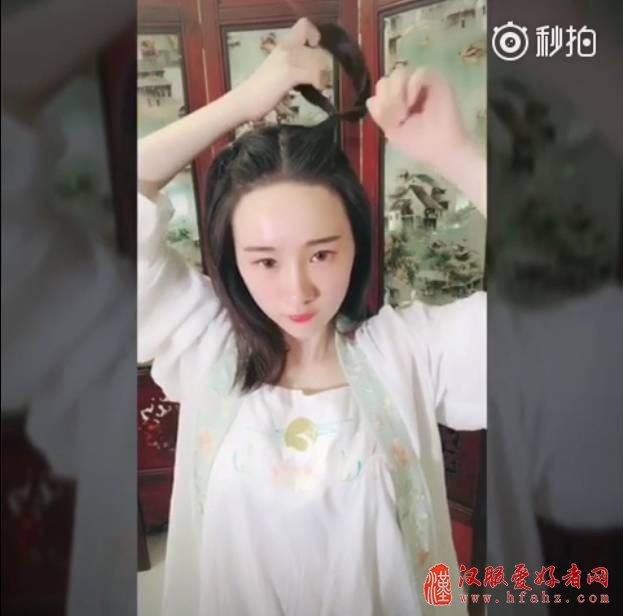 【汉服发型】适合中短发妹子的简单汉服发型教程图片